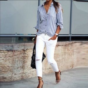 FREE PEOPLE destroyed skinny jeans Hong Kong white